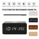 Réveil en Bois - Heure - Calendrier - Température - Station de Recharge Sans Fil