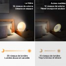 Radio Réveil Matin avec Effets Lumineux Amélioré Lampe de Chevet avec 20 Alarmes Luminosité Programmables, Simulation du Lever et du Coucher de Soleil, Fonction Snooze, 7 Sons Naturels, Radio FM