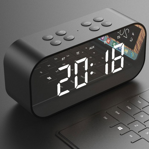 Radio Réveil Miroir Intelligent avec 2 Haut-Parleurs