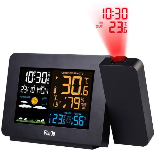 Radio Réveil Fanju avec Projection du Temps et Température Extérieur