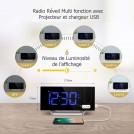 Mpow Radio Réveil à Projection FM avec Double Alarmes, Horloge Numérique USB, Fonction Snooze, Minuteur de Mise en Veille, 12/24h, Grand Ecran LED avec Gradateur (Améliorée)