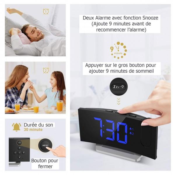 Port USB 12//24/Heures /écran LED 5/ 5/Brillantes Bleu Mpow Radio R/éveil num/érique Projecteur 3/Tons FM Radio R/éveil avec Projecteur dalarme Dual avec 4/Sons Snooze