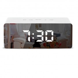 Radio Réveil Miroir avec Affichage Blanc