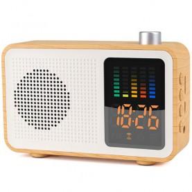 Radio Réveil en Bois - Bluetooth - Haut-Parleur - FM