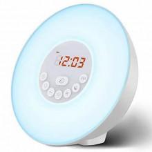 Radio Réveil Lumière Lampe Matin - Sonore et Lumineux avec Simulation Lever Coucher du Soleil et Fonction Snooze, Lampe de Chevet, 7 Sonneries Naturelles, Radio FM, Contrôle Tactile