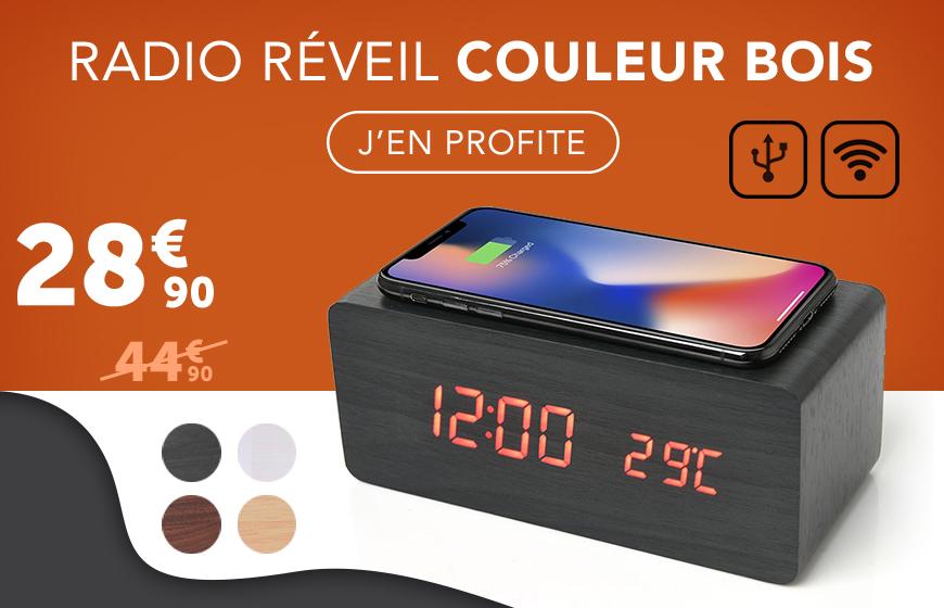 Radio réveil de couleur bois